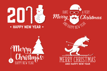 Merry Christmas greeting card. Vector illustration.