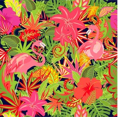 Seamless tropical summery wallpaper with pair of flamingo and exotic floral colorful pattern for fabric, textile, wrapping paper, greeting card, invitation, web design