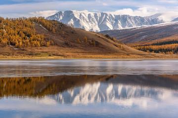 lake mountains reflection ice autumn