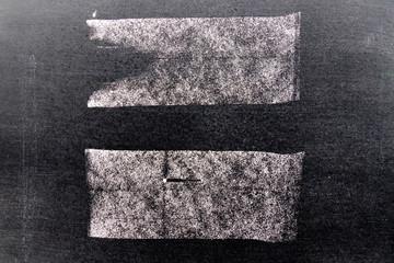 Set of grunge white chalk art brush in square line shape on black board background. Decoration and design element