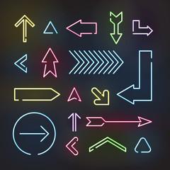 Set of neon arrows, vector illustration on black background