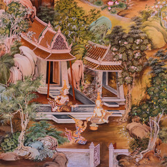 Buddhist temple mural painting art in Thailand