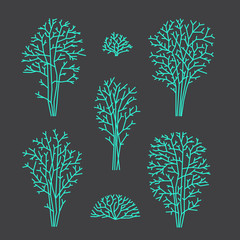 Set of line trees, vector illustration