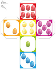 Easter egg dice template - do it yourself model of a cube with colored and patterned easter eggs instead of dice eyes - isolated vector illustration over white.