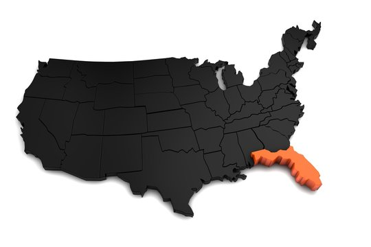United States of America, 3d black map, with Florida state highlighted in orange. 3d render