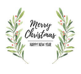 Watercolor illustration. Christmas laurel wreath. Perfect for invitations, greeting cards, blogs, posters and more. Merry christmas and happy new year