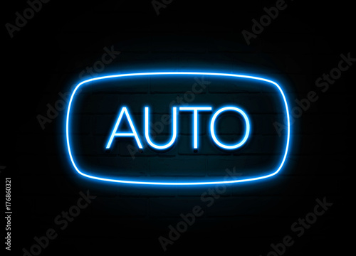 Auto Colorful Neon Sign On Brickwall Stockfotos Und Lizenzfreie