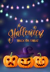 Halloween background, pumpkin. Greeting card for party and sale. Autumn holidays. Vector illustration EPS10.