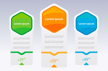 three tariffs UX. Interface for the site. Vector banner for web app. Pricing table, banner, order, box, button, list and bullet with plan for website.