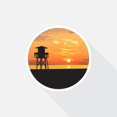 Sunrise beach with sea and lifeguard tower, vector illustration icon