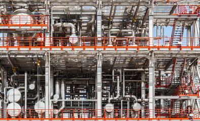 Modern oil / chemical  factory structure with pipes,construction,tubes and valves / close up