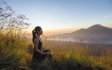 Meditation at mount batur, bali