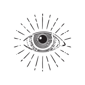 All seeing eye, circle, vector illustration isolated on white