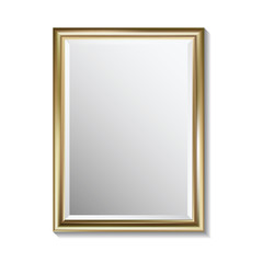 Mirror with golden rectangular frame, vector illustration