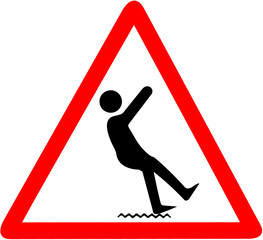 wet ground danger of falling warning.Red triangular warning symbol sign on white background