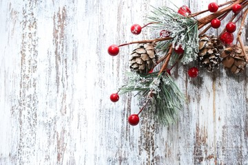 Christmas Holiday  background with fir branches / Xmas backdrop with copy space