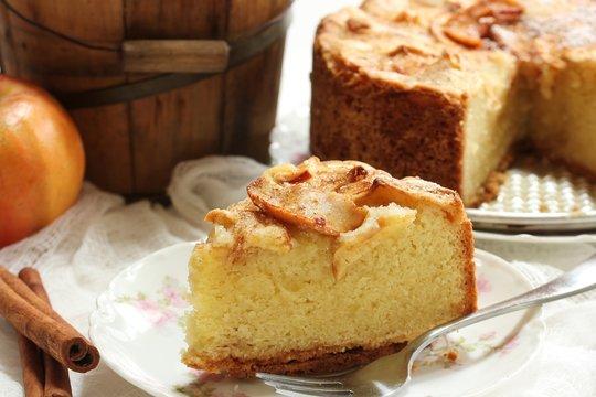 Homemade German apple cake on white background / Thanksgiving dessert