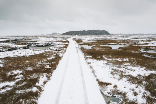Road through Marsh in Winter Marshfield, Massachusetts