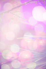 Beautiful Christmas decoration close up. Abstract background with bokeh lights.