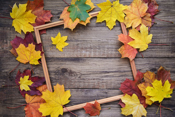 Autumn picture of yellow leaves and wooden frame
