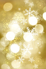 Golden blurred bokeh lights for Christmas and New Year celebration. Magical abstract glittery backgroun with falling snowflakes.