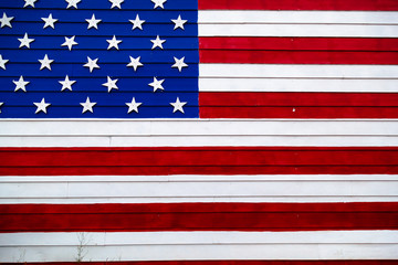 American Flag on a Wooden Wall