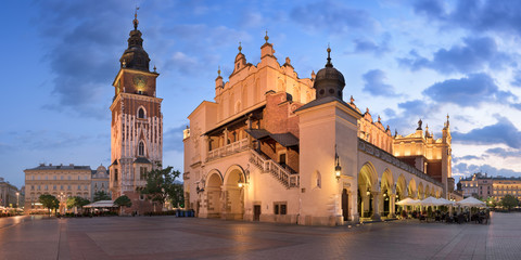 Panorama of Townhall and Cloth Hall in the Morning, Krakow, Poland