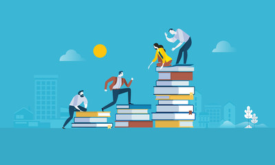 Flat design style web banner for the path to success, levels of education, staff training, specialization, learning support. Vector illustration concept for web design, marketing, and print material. Wall mural