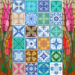 Glazed ceramic mosaic with Moroccan, Spanish, Portuguese motifs.
