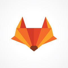 fox head with pencil tip logo design