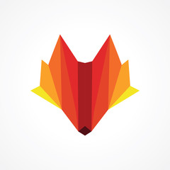 modern vibrant orange wolf head logo design