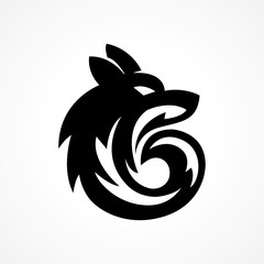 wolf head silhouette logo with circle shape
