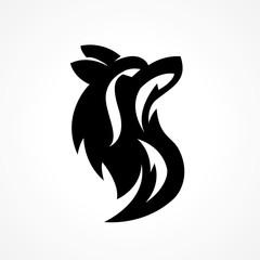 wolf head silhouette logo in letter S