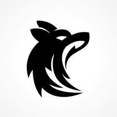 wolf head silhouette logo