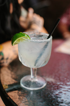 Large margarita on the rocks with salt and lime