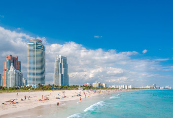 Miami Beach in Florida with luxury apartments and waterway, Florida