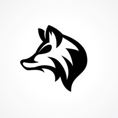 elegant modern wolf head logo with neck hair