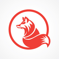 orange elegant wolf logo in circle