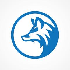 blue elegant wolf logo in circle