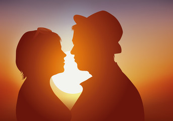 amoureux - jeune - amour - aimer - séduction - couple - romantique - coucher de soleil