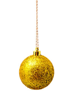 Hanging yellow christmas balls isolated on a white