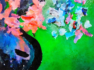 Abstract Watercolor Vase and flowers