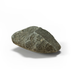 Large rock stone isolated on a white background 3d rendering