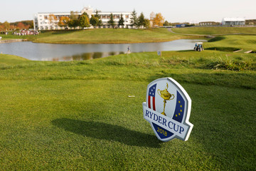 A logo is seen at France's Golf National where the Ryder Cup 2018 tournament will be held at Saint-Quentin-en-Yvelines, France