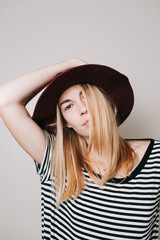 Young stylish woman wearing a hat