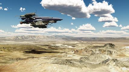Raumschiff über einer Wüstenlandschaft