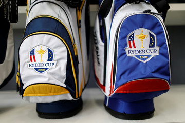 Bags with the 2018 Ryder Cup logo are displayed for sale at France's Golf National where the Ryder Cup 2018 tournament will be held at Saint-Quentin-en-Yvelines