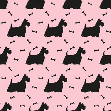 Seamless pattern with white silhouettes of terriers. Vector illustration.