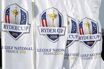 Flags with the 2018 Ryder Cup logo are seen at France's Golf National where the Ryder Cup 2018 tournament will be held at Saint-Quentin-en-Yvelines, France
