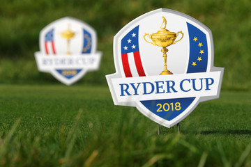 Signs with the logo of the 2018 Ryder Cup are seen at France's Golf National where the Ryder Cup 2018 tournament will be held at Saint-Quentin-en-Yvelines, France